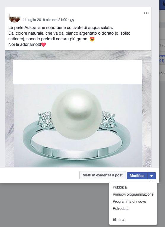post programmato su facebook
