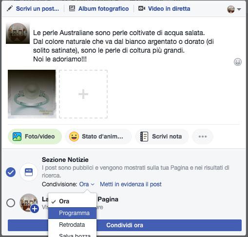 come programmare un post di facebook