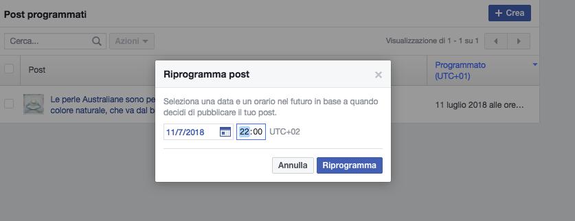 riprogramma un post sulla pagina facebook